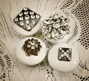 Add jewelry to wooden drawer pulls or door knobs for an awesome addition of bling - we've got jewelry pieces and knobs @ Curiosity Shop, Irving TX