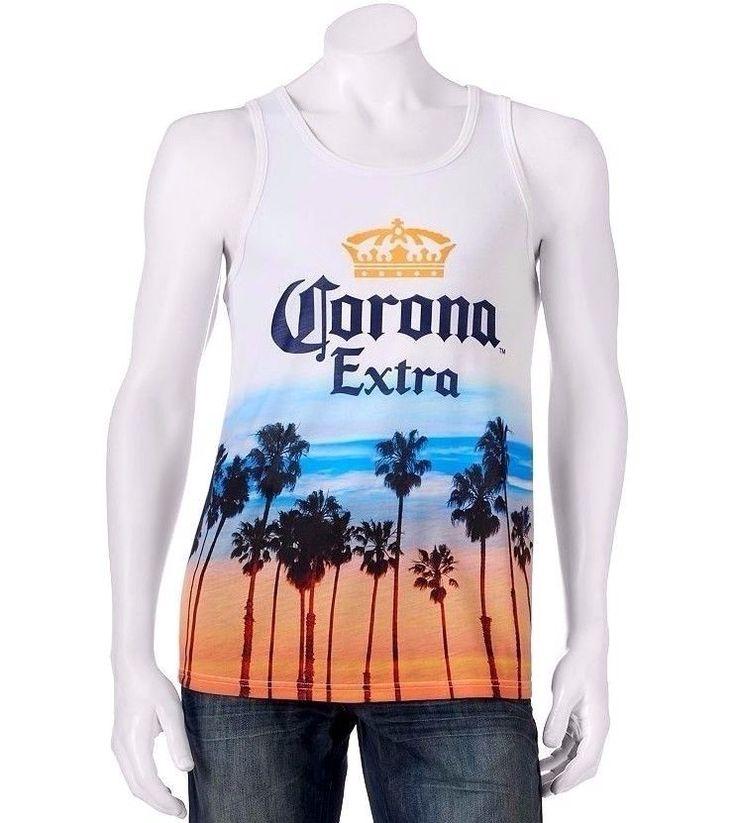 New 20 Corona Extra Tank Top Palm Tree Beer Orange Blue Beach T Shirt