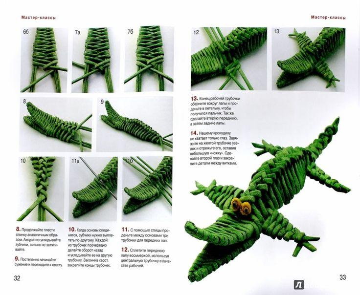 krokodil Иллюстрация 1 из 10 для Зоопарк из газетных трубочек - Светлана Булгакова | Лабиринт - книги. Источник: Лабиринт