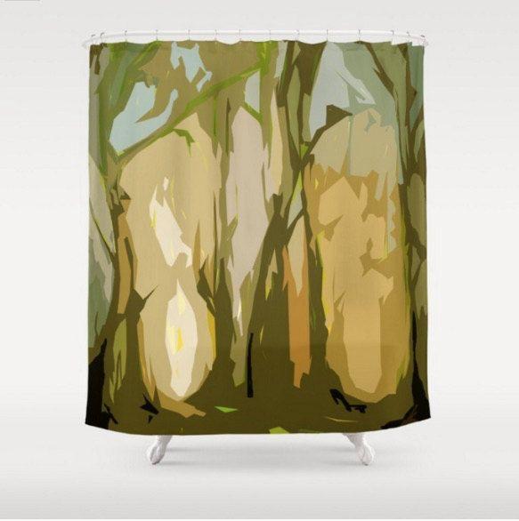 Green shower curtain - art curtain - cabin shower curtain -modern shower curtain - abstract shower curtain - masculine shower curtain (80.00 USD) by JulieMcDowellDesigns