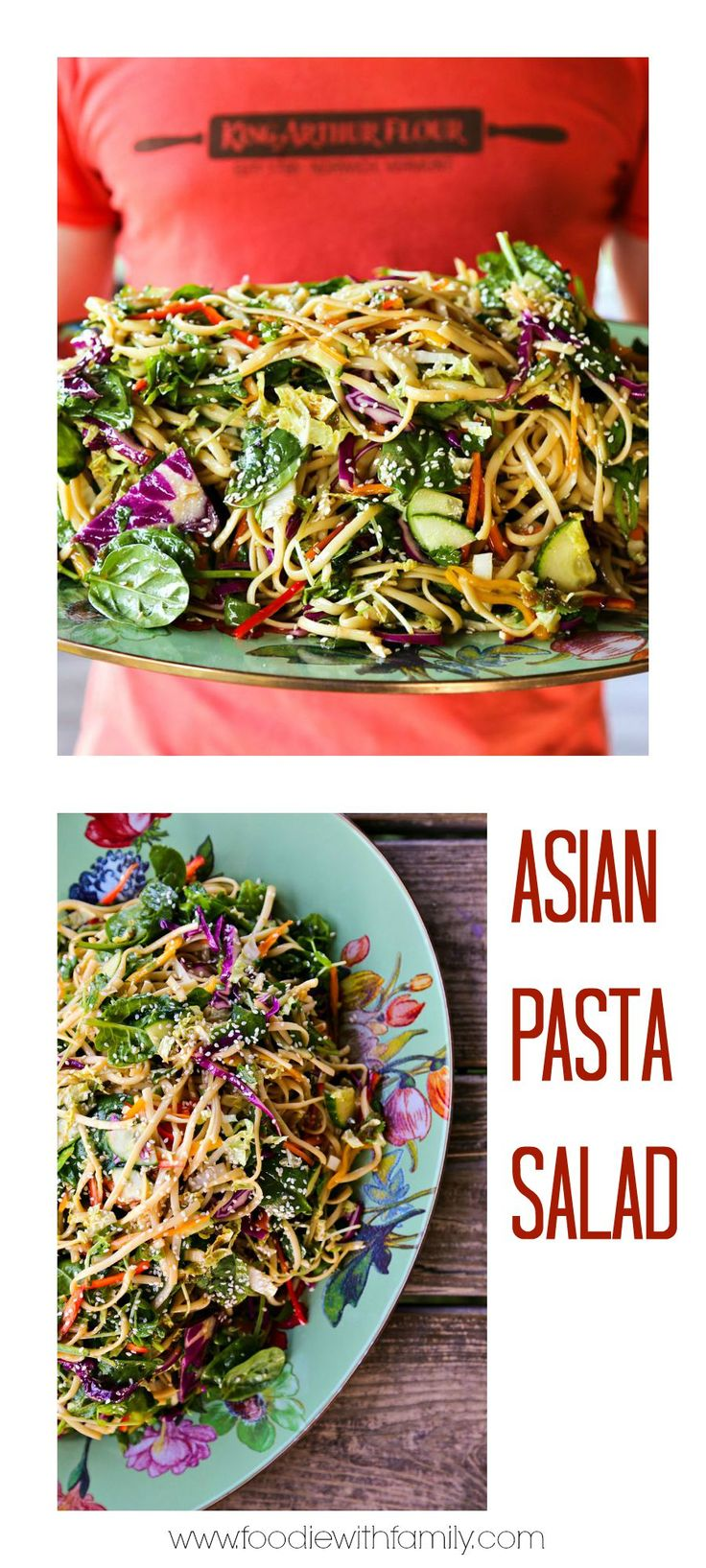 This delightful Asian Pasta Salad is seriously heavy on the crunchy vegetables with a flavourful garlic and ginger soy vinaigrette.