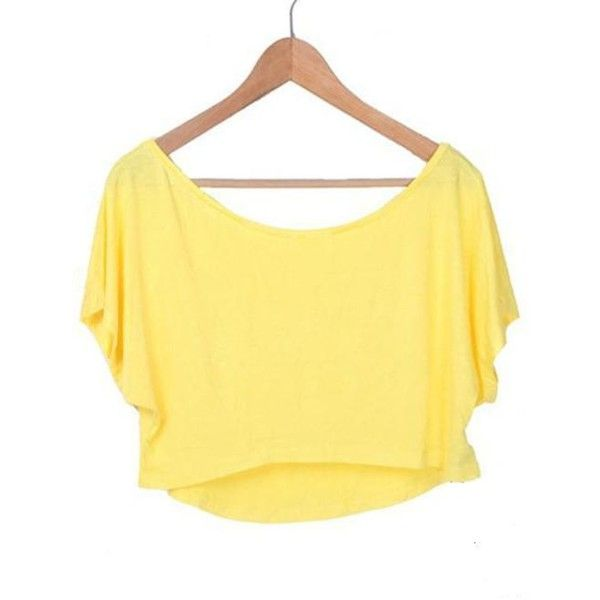 Yellow Batwing Short Sleeve Crop Scoop Neck T-shirt ($26) ❤ liked on Polyvore