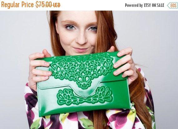 My lucky green clutch / vegan green vinyl / embossed floral print / 100% vegan / fits phone & essentials / standout green clutch