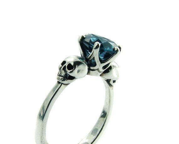Skull Engagement Ring Silver Blue Topaz Skull Ring Goth Jewel Ring Blue Gemstone Memento Mori Womens Size 6 Psychobilly