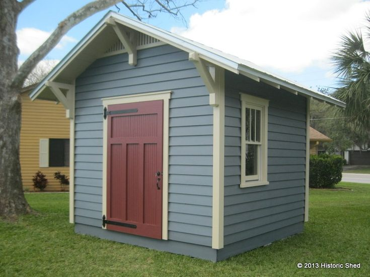 10'x10' Craftsman Style Shed. I like the gable brackets and the straps hinges on the door.