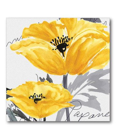 Love this Poppy Yellow & Gray I Wrapped Canvas on #zulily! #zulilyfinds