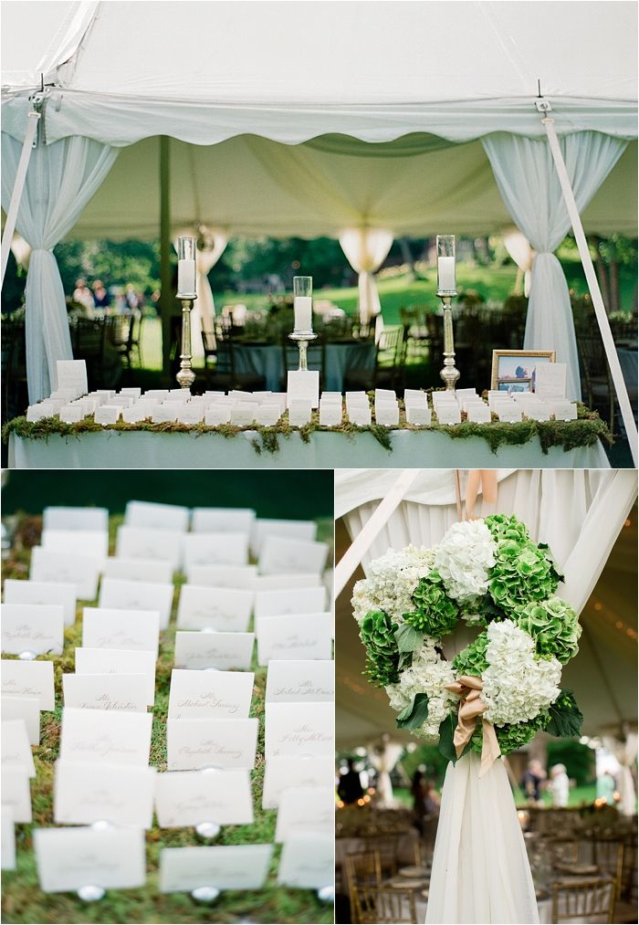 Lake Minnetonka Outdoor Tent Wedding with white floral and farm tables!                                               Wedding Coordinator  – Lasting Impressions Weddings Photography – Laura Ivanova Photography Ceremony Site – Our Lady of Lourdes Wedding Dress- L'atelier Couture Bridal Floral – Sadies Floral Rental Items – Apres Party and Tent and Linen Effects Cake – Buttercream