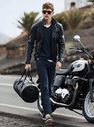 Men's Black Leather Biker Jacket, Navy V-neck Sweater, White Crew-neck T-shirt, Navy Skinny Jeans