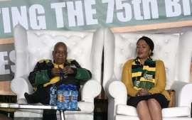 President Jacob Zuma and his wife Thobeka Madiba-Zuma in Soweto for his 75th birthday celebration.