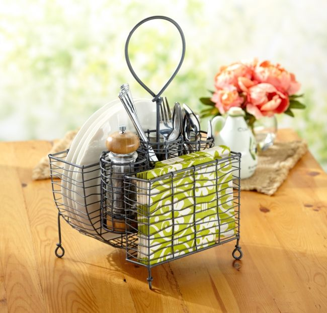 Pin Rustic Wire Picnic Caddy in Rustic Grey Finish
