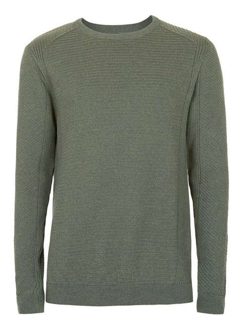 Khaki Ribbed Slim Fit Cotton Jumper - Men's Jumpers & Cardigans - Clothing - TOPMAN