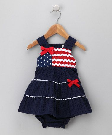 Take a look at this Navy Flag Dress & Diaper Cover - Infant by Rare Editions on #zulily today!