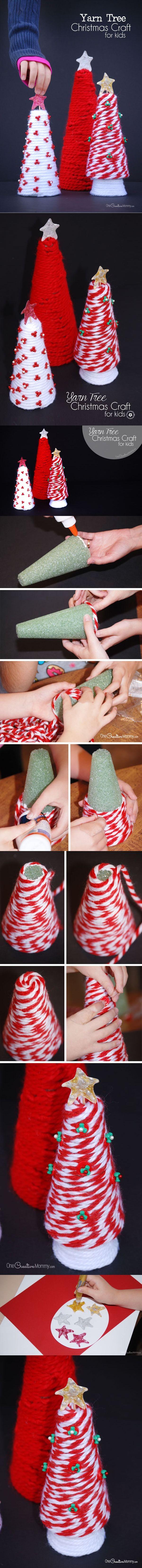 Manualidades navideñas para niños: Hermosos arbolitos de hilo - Muy Ingenioso