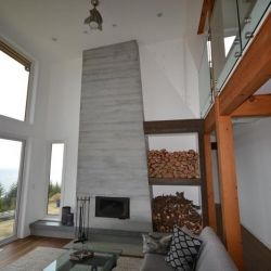 #panorama #bc #Canada #timberframe #timber #wood #house #architecture #interior #custom #customhome #contemporary #fireplace
