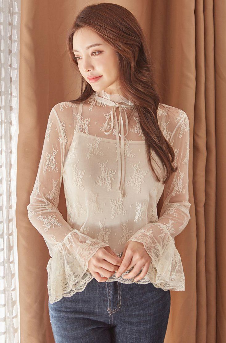 Floral Sheer Blouse CHLO.D.MANON | #feminine #lace #floral #blouse #sheer #koreanfashion #kstyle #kfashion #seoul #dailylook #falltrend