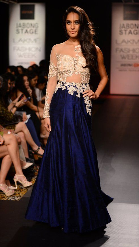 Ridhi Mehra ivory and blue gown Lisa Haydon