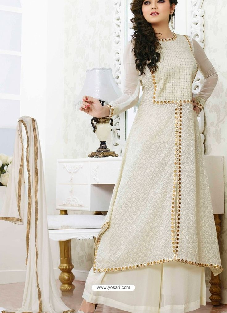 Off White Georgette  Pakistani Suits Model: YOS756
