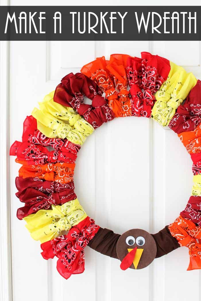looking for ideas for thanksgiving wreaths try this bandanna turkey wreath for your home