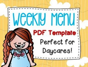 Free Daycare Meal Planner/Menu Template!  I use this PDF for making my child care meal plan every week.  Such a time saver and looks more professional too.