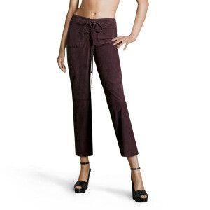 Pantaloni stile Capri, taglio dritto<br/>viola scuro<br/>100% pelle di capra