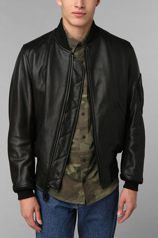 $840, Ma 1 Bomber Leather Jacket by Schott. Sold by Urban Outfitters. Click for more info: http://lookastic.com/men/shop_items/14678/redirect
