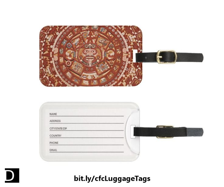 Hey, world travelers! Make your suitcase stand out from the crowd with this cool luggage tag which features a close-up of a colorful Aztec calendar in red and beige earth tones. #StudioDalio #travel #accessories #LuggageTag #luggagetags #bagtag #BagTags