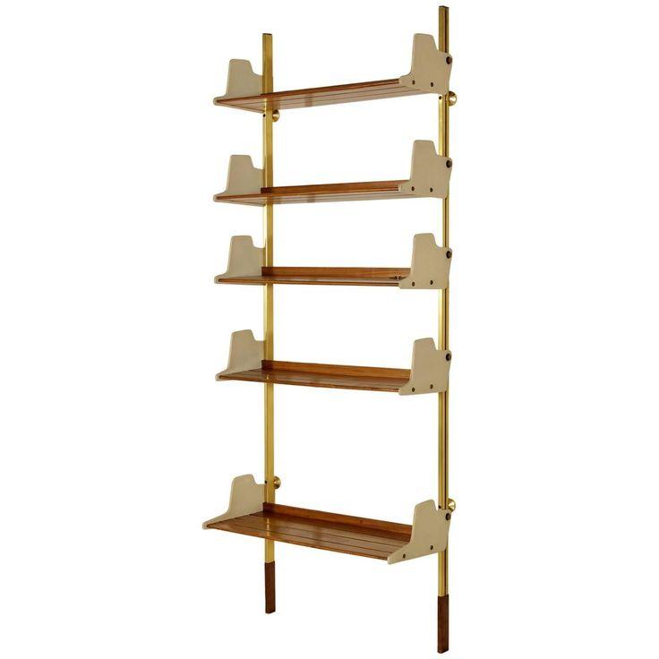 Wall Bookcase by Borsani Gold Anodised Aluminium Teak Plywood Plastic Vintage 1