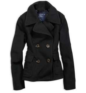 black pea coats for women | AMERICAN EAGLE WOOL BLACK PEA COAT JACKET XXL 2XL NEW