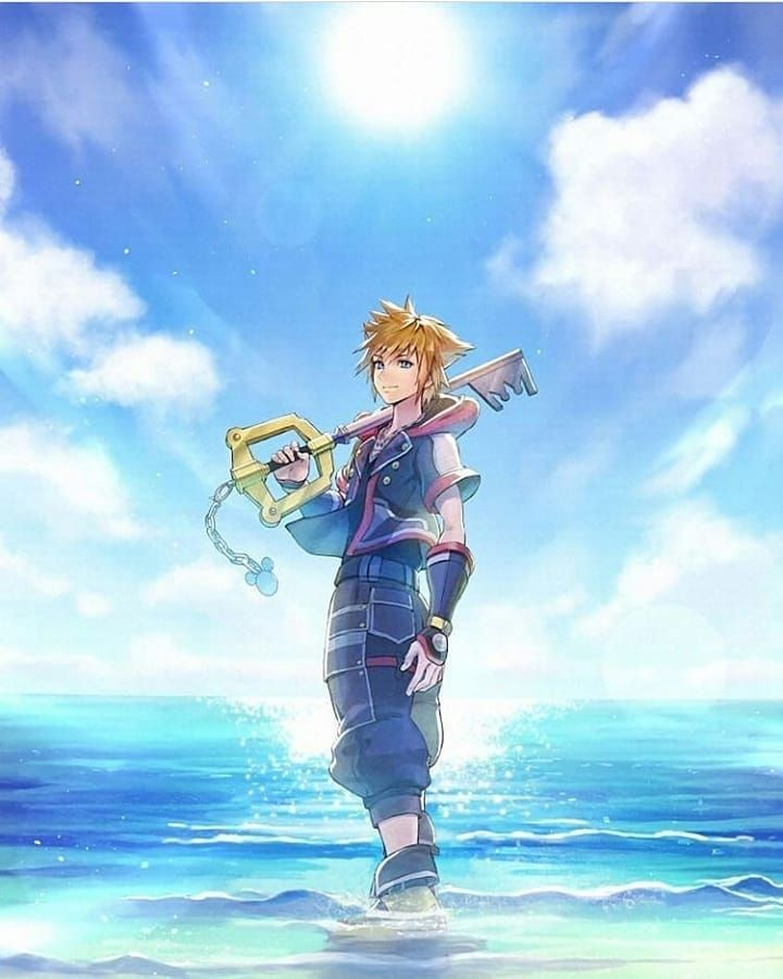 Kingdom Hearts Sora At The Beach Kingdom Hearts Fanart Sora