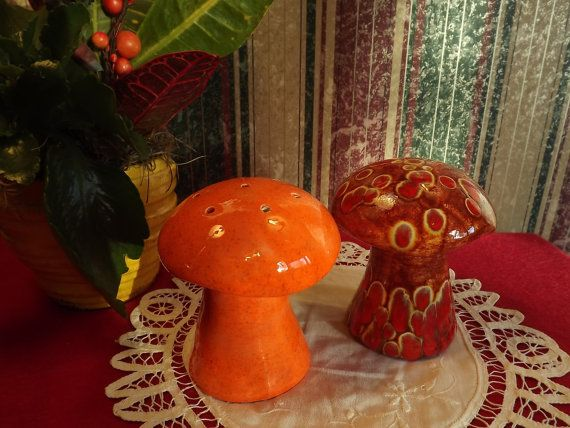 2 Vintage Mushroom Shakers Outrageous Orange and Vintagious