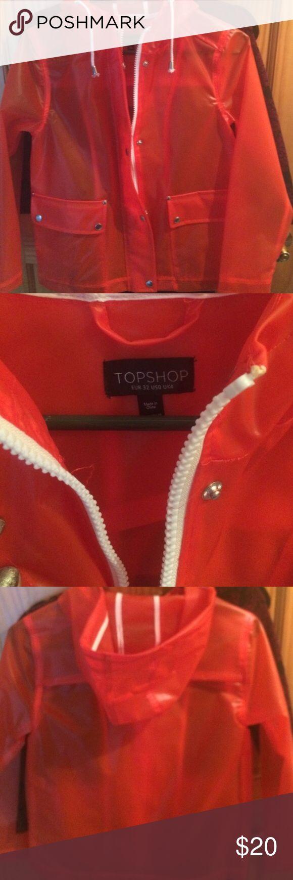 NWOT top shop britpop rain coat Never worn retro rain coat Topshop Jackets & Coats Trench Coats