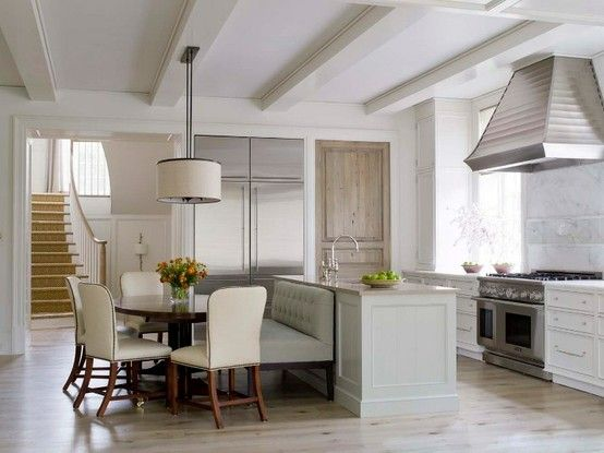 layout: Kitchens, Interior, White Kitchen, Eat In Kitchen, Bench, Round Table, House, Kitchen Ideas, Design