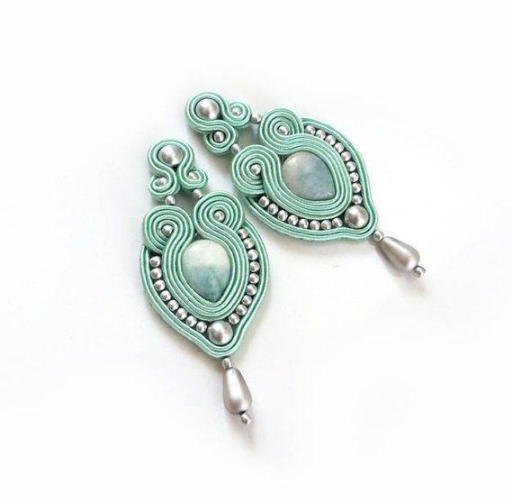 Mint studs earrings Soutache Earrings mint green by sutaszula