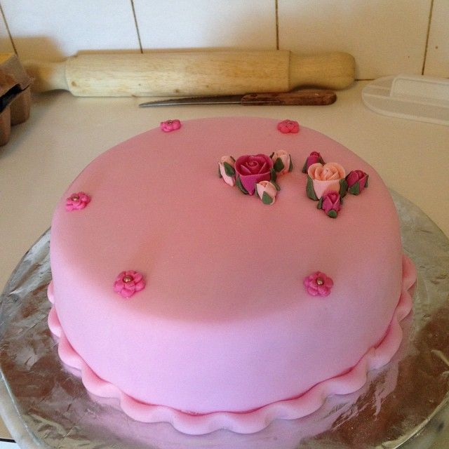 Pink Cake. It is a fruit cake for an 80th Birthday.