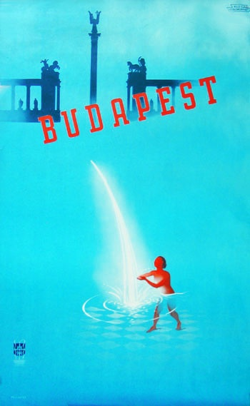 Hausvaters' travel poster 193x Budapest Bathcity