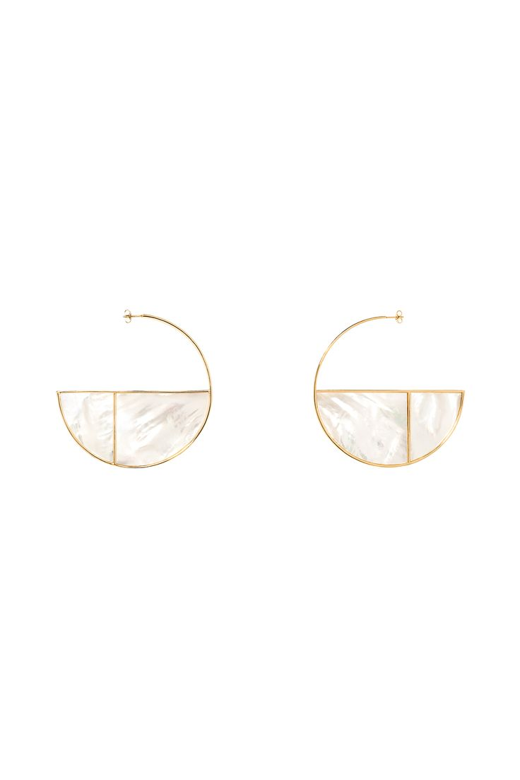 Fall '15 Accessories Trend Report | Heady Metals | Aurélie Bidermann Modern Gold Wire and Mother of Pearl Disc Earrings