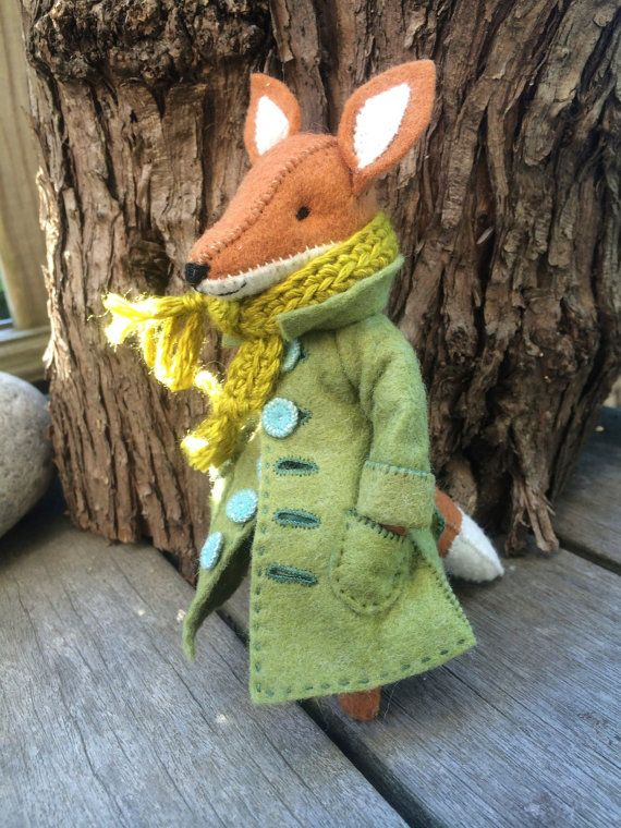 Fox coat PDF pattern, felt coat pattern, miniature clothing, doll coat pattern…