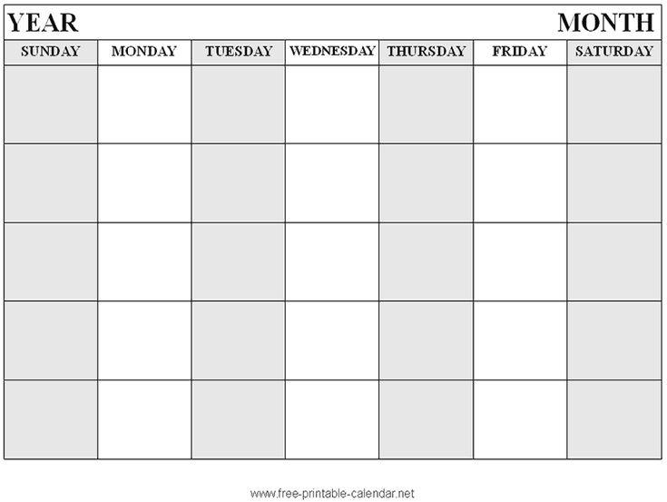 Free printable Blank calendar format 3