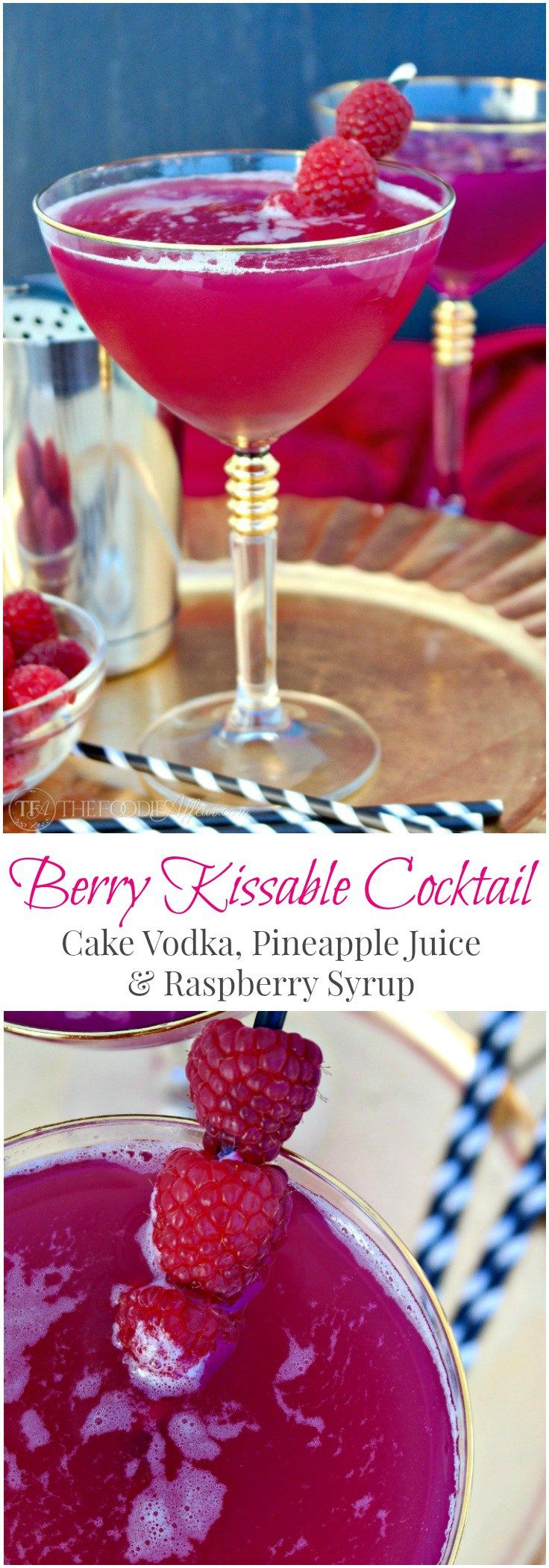 Berry Kissable Cocktail made with ruby red raspberries, cake vodka and pineapple juice! #cocktails #drinks #holiday #vodka