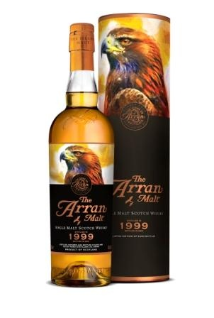 The pair of Golden Eagles, who nest in the moutains above Lochranza have been an integral part of the Arran story since the Distillery was built in 1995 and feature on every bottle of The Arran Malt.  This 1999 Distillation was drawn from a combination of Bourbon Barrels and Sherry Hogsheads specially selected by our Distillery Manager James MacTaggart.  The Eagle is spectacular, powerful and yet graceful, just like the Birds of Prey themselves.