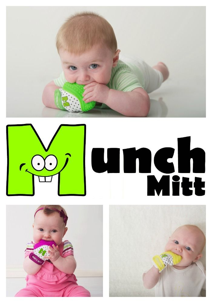 """WHAT IS A MUNCH MITT?  The """"handiest"""" teether you'll ever buy! Textured, shaped silicone surface, secure adjustable strap, crinkle noise, black and white pattern & bright, colorful enhancements. Perfect for the car seat, stroller or tummy time! Suggested ages: 3-8 months."""