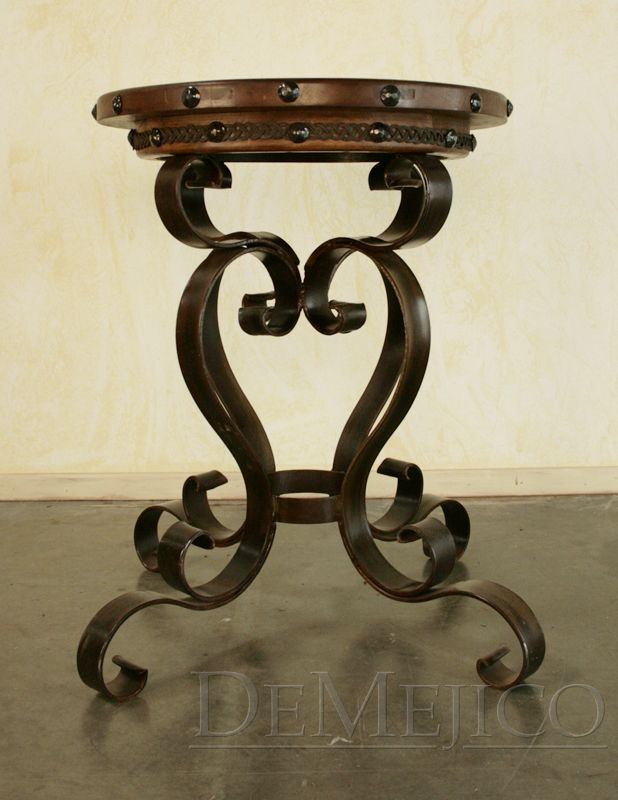 The Mesa Lateral Altina Is A Spanish Iron End Table Featuring A Round  Mesquite Top And