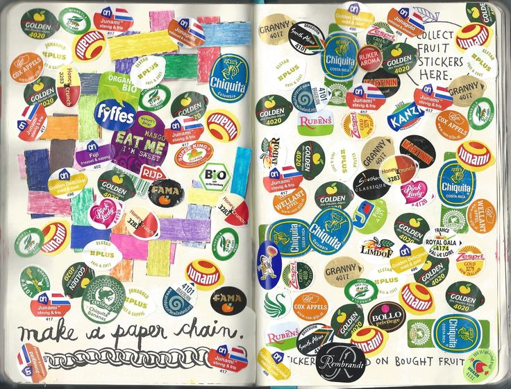 Wreck this journal: fruitstickers.