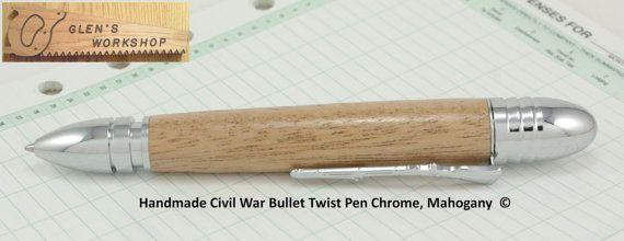 Civil War Bullet Pen Handmade Chrome Mahogany by GlensWorkshop, $34.95