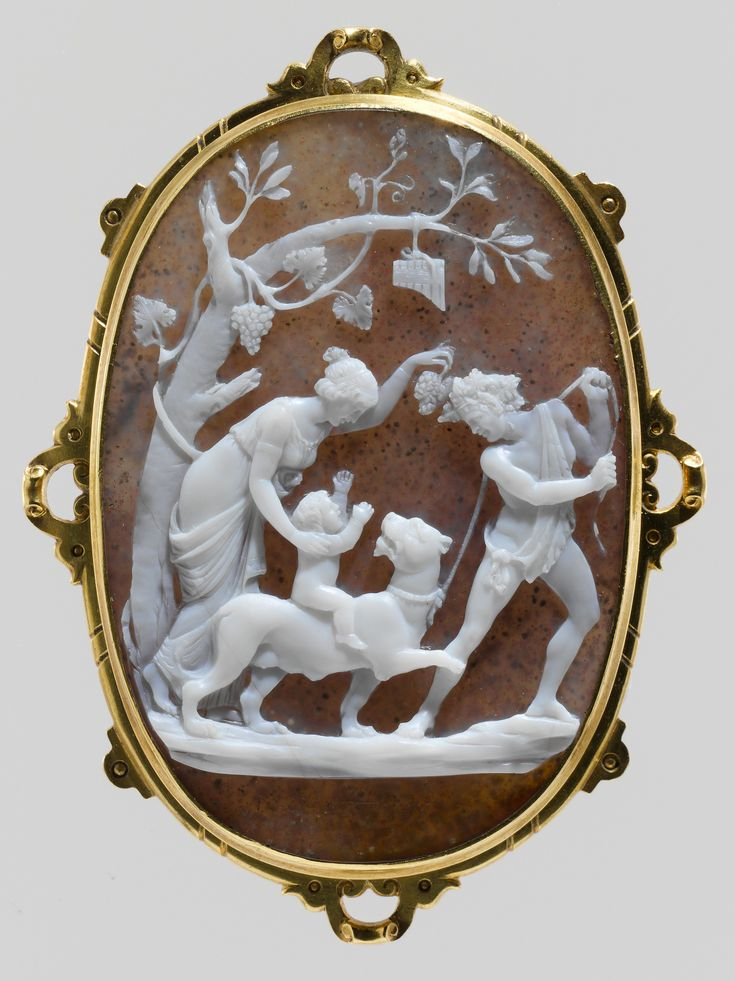 Education of the Infant Bacchus | Onyx, gold frame, by Niccolò Amastini, Italy 19th c.