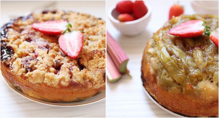 gateau reversible renverse rhunarbe crumble fraises martha stewart Gâteau renversé (et réversible !) à la rhubarbe et au crumble à la fraise...