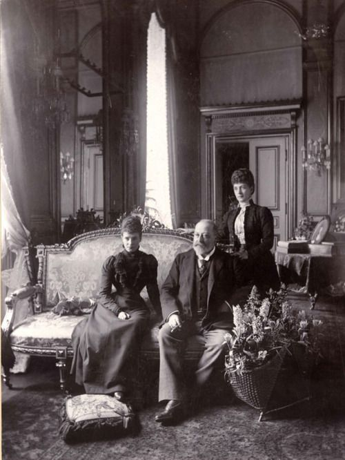 With Alexandra's husband, the future King Edward VII, at Amelienborg Palace, the Danish royal family's winter home, in Copenhagen, Denmark, May 1900.
