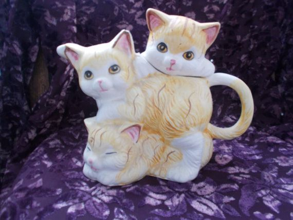 1960s Vintage 3 GINGER Cats 'Oh So Cute Tea-Pot'