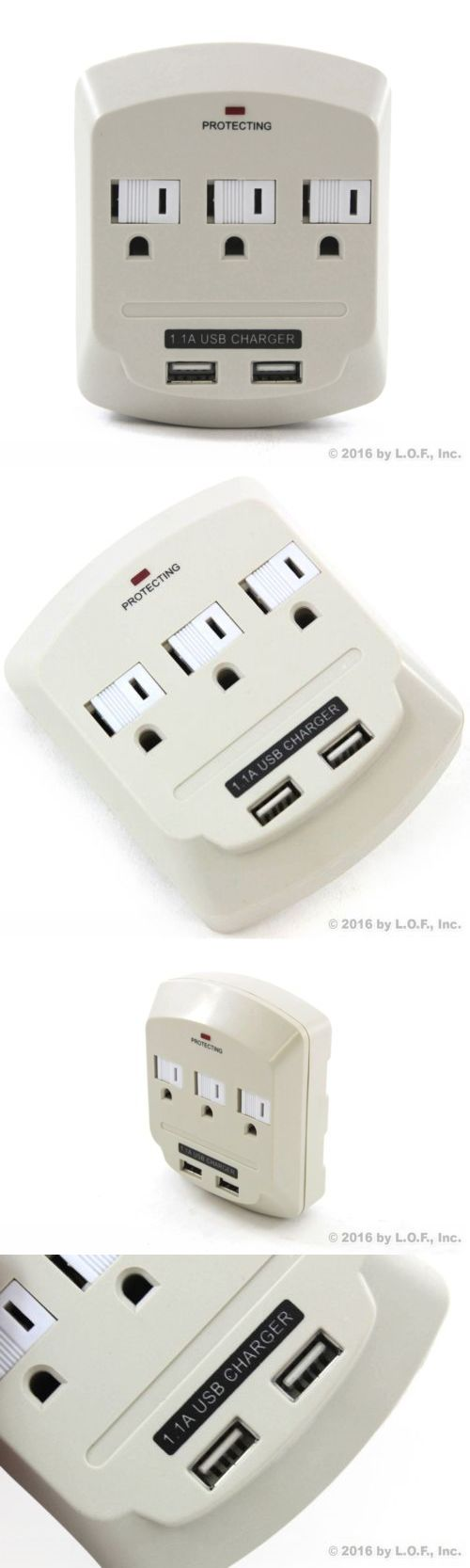 Surge Protectors Power Strips: 48 Pack 3 Outlet Power Surge Protector 2 Usb Charging Slim Wall Tap - 900 Joules -> BUY IT NOW ONLY: $150.09 on eBay!