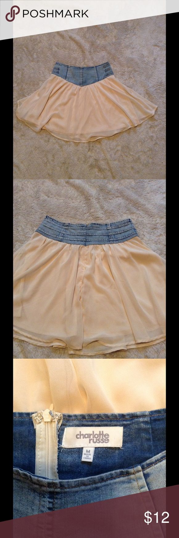 Denim top skater skirt with flowy bottom Unusual but adorable skirt with a denim waistband anda flowy cream color bottom. Size medium with zipper back 🌼 Charlotte Russe Skirts Mini